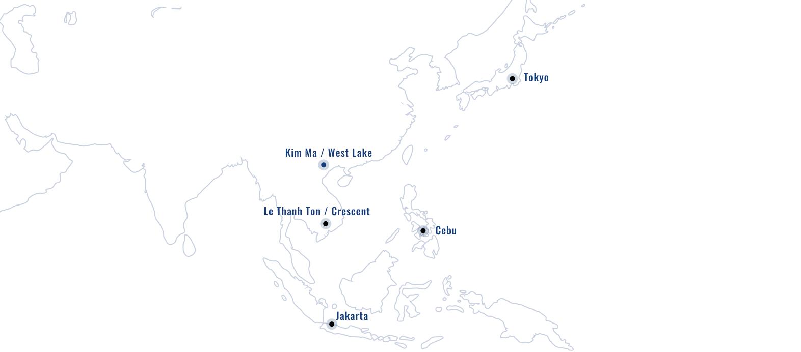 Brilliant Groupの拠点一覧の世界地図